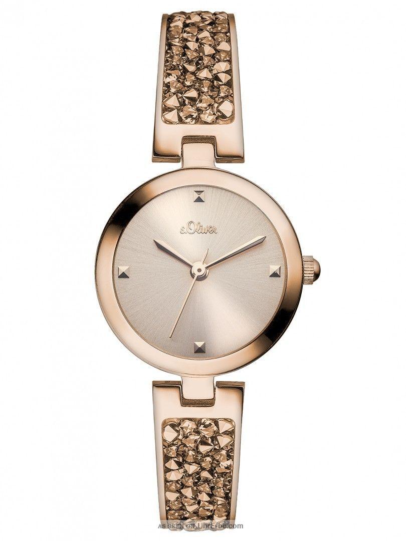 S.  Oliver Damen Uhr So - 2944 - Mq Damenuhr Edelstahl Rosé Ladie´s Watch 5 Atm Armbanduhren Bild