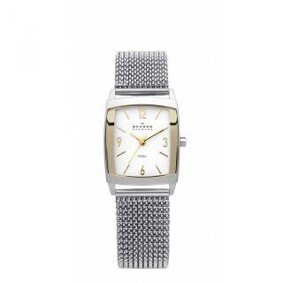 Skagen 691sgs1 Damen Denmark Weißes Ziffernblatt Edelstahl Netz Armband Uhr Bild