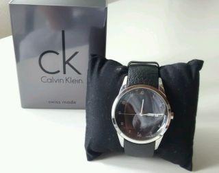 Ck Calvin Klein Xl Analog Leder Herrennuhr Herren Armbanduhr Uhr - Swiss Made Bild