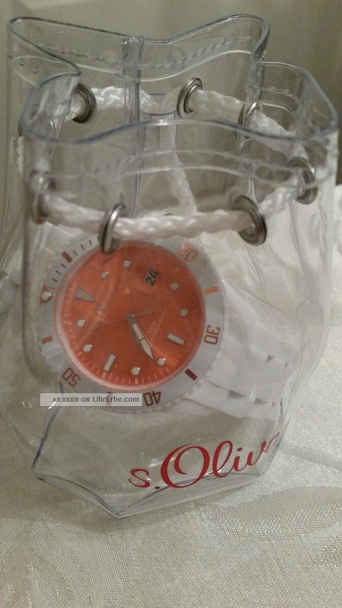 Neue Uhr Von S.  Oliver Weißes Band,  Oranges Zifferblatt Armbanduhren Bild