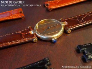 Ersatz Lederarmband Massanfertigung,  Goldschnalle Für Cartier - Must De 14mm Bild