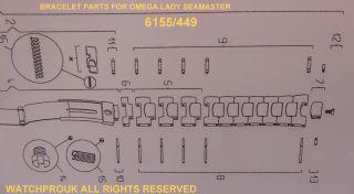Omega Seamaster Armband Teile Dame Polaris - Link / Pin / Verschluss / Schraube Bild