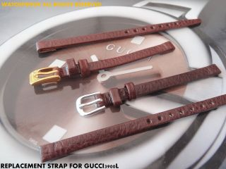 Qualität Lederbänder Für Ihre Gucci 3900l S - Stahl @ Gp Schnalle Schwarz / Braun Bild