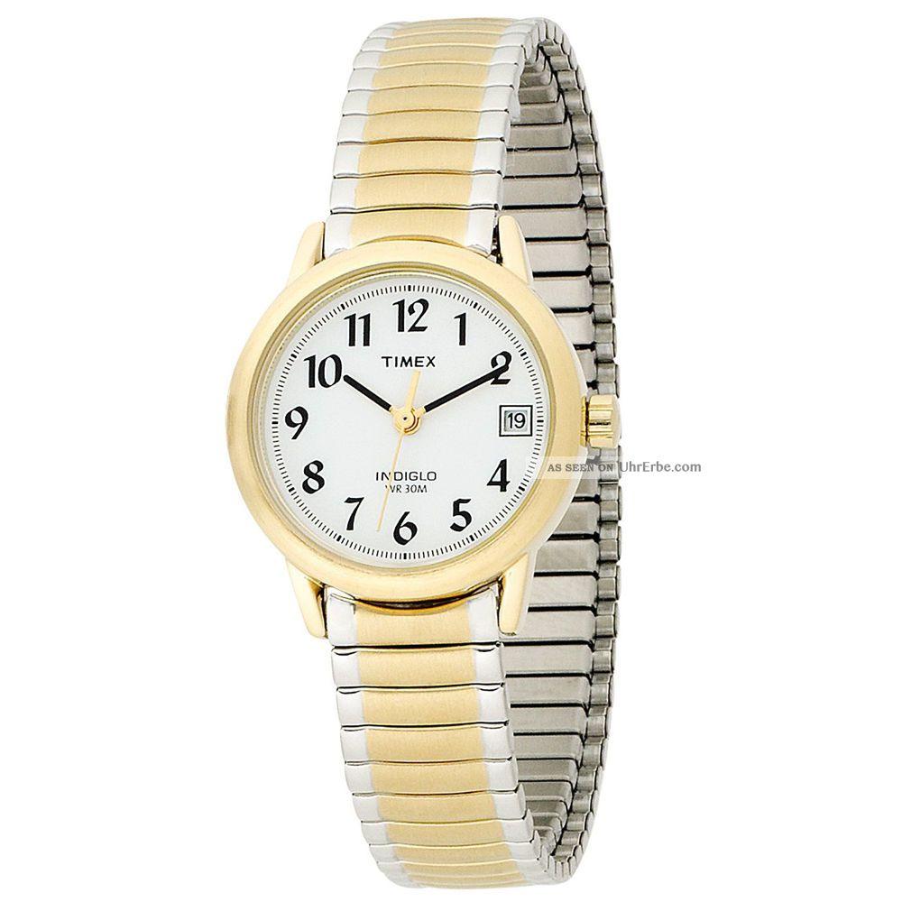 Timex T2h491,  Damen Zwei Ton Stahlarmband,  Weiß Zifferblatt Uhr Armbanduhren Bild