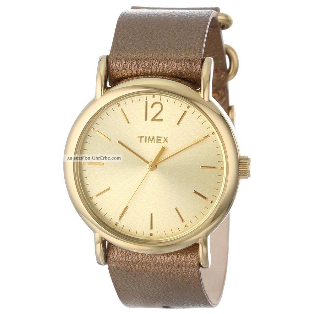 Timex T2p340 Damen Gold Zifferblatt Metallische Braunes Leder Armbanduhr Armbanduhren Bild