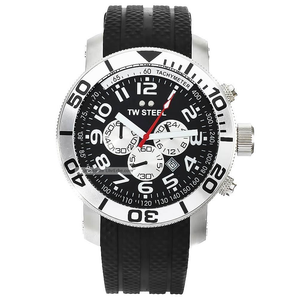 Tw Steel Tw73 Herren Schwarz Dial Black Rubber Strap Chrono Uhr Armbanduhren Bild
