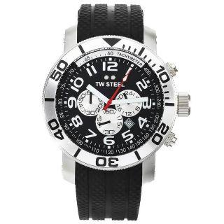Tw Steel Tw73 Herren Schwarz Dial Black Rubber Strap Chrono Uhr Bild