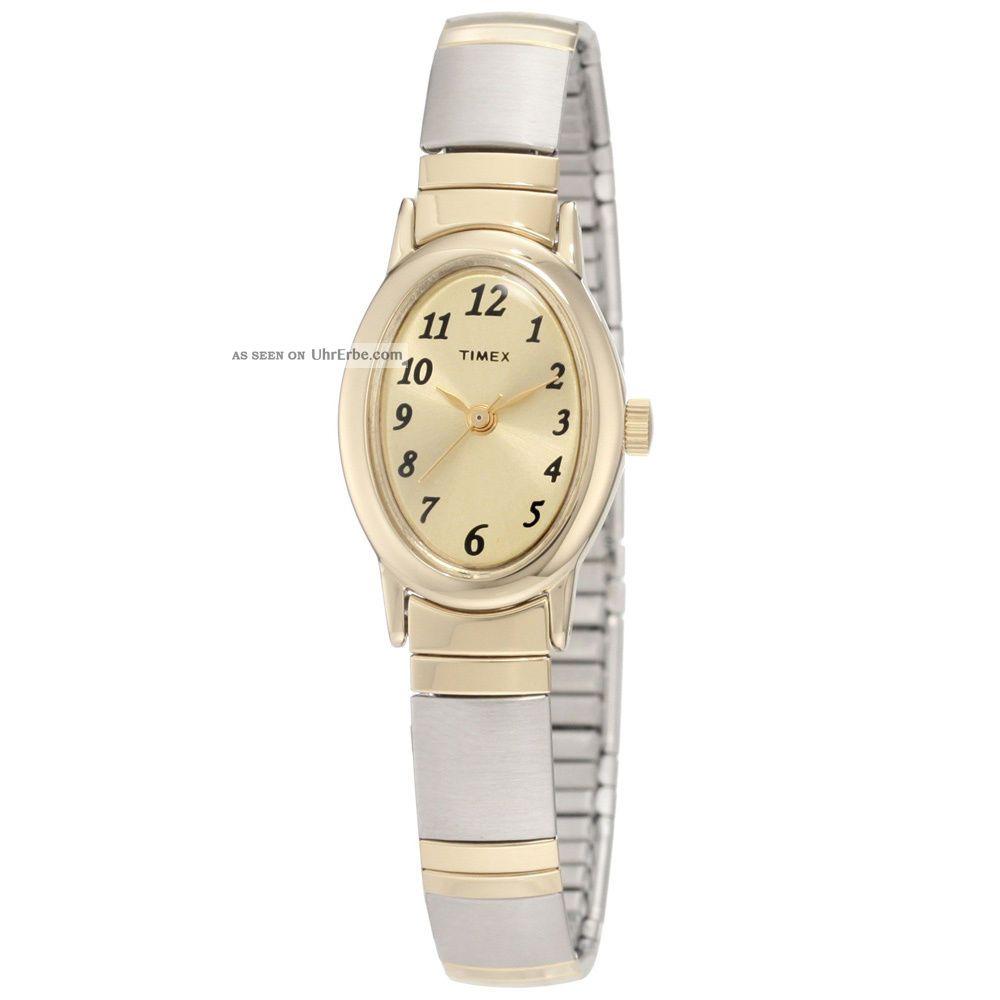 Timex T2m443 Frauen Gold Zifferblatt Two Tone Expansion Armband Uhr Armbanduhren Bild