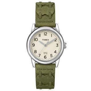 Timex T2n903,  Damen Weiß Zifferblatt Olivgrün,  Lederband Uhr Bild