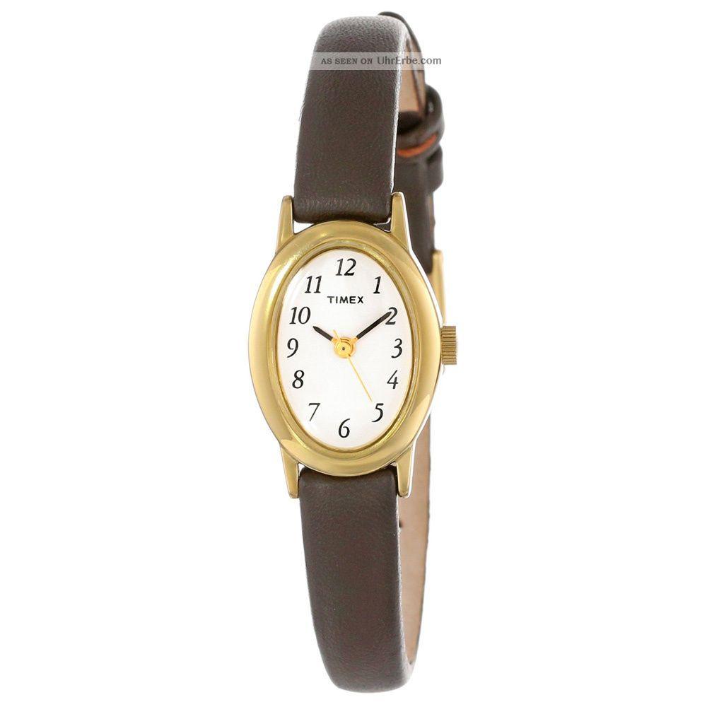 Timex T2n256 Damen Kavatine Weißes Zifferblatt Braunes Leder Armbanduhr Armbanduhren Bild
