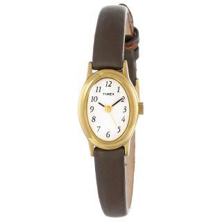 Timex T2n256 Damen Kavatine Weißes Zifferblatt Braunes Leder Armbanduhr Bild