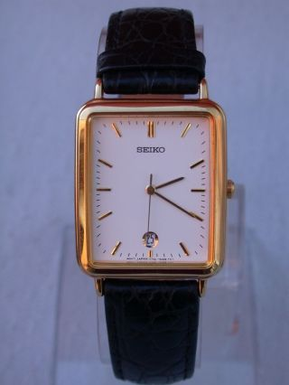 Seiko Japan Elegant Herren Uhr,  Vergoldet / Gold Plated ; Top Bild