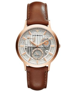 Emporio Armani Herren - Armbanduhr Rose Gold Automatik Leder Ar4662 Meccanico Bild