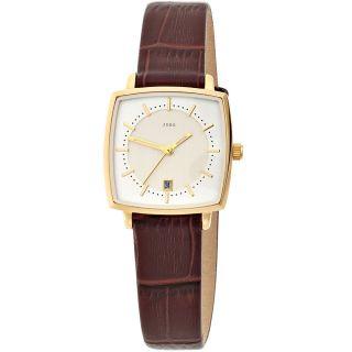 Jobo Damenuhr Damen Armbanduhr Uhr Quarz Edelstahl Vergoldet Lederband J - 37258 Bild