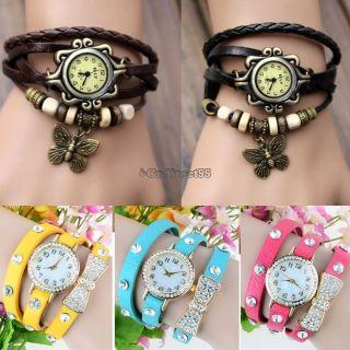 Damen Retro Leder Armbanduhr Bowknot Schmetterling Quartz Uhr Armreif Armband C5 Bild