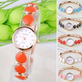 Heiß Frauen Mädchen Recht Strass Kristall Gold - Quarz - Armband - Armband - Armbanduhr Bild