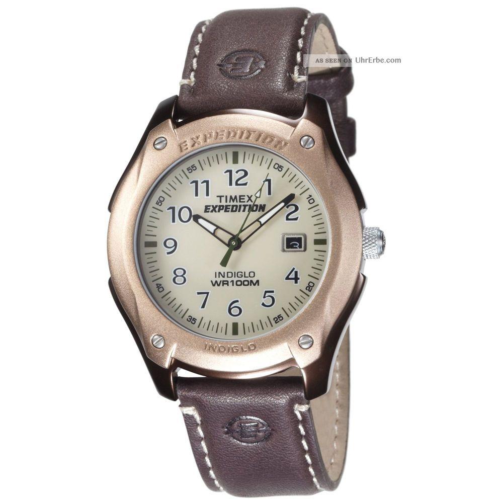 Timex Herrenuhr T46971 Natürlich Weißes Zifferblatt Braune Lederband Armbanduhren Bild