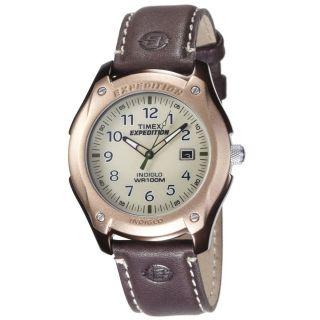 Timex Herrenuhr T46971 Natürlich Weißes Zifferblatt Braune Lederband Bild