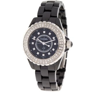 Chanel J12 H1625 33mm Schwarze Keramik 1.  25ct Diamant Quartz Damenuhr Bild