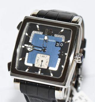 Ulysse Nardin Quadrato Dual Time Uhr Ref.  243 - 92 Stahl Box Bild