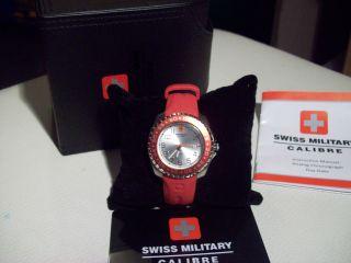 Swiss Military Damen - Armbanduhr Sealander Rot Ungetragen Mit Box Und Anleitung Bild