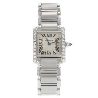 Armbanduhr Cartier Tank Francaise 51008q3 Damen Uhr Quartz Mit Diamanten Bild