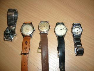 5 Alte Mechanische Armbanduhren,  Dabei 3 Laco Bild