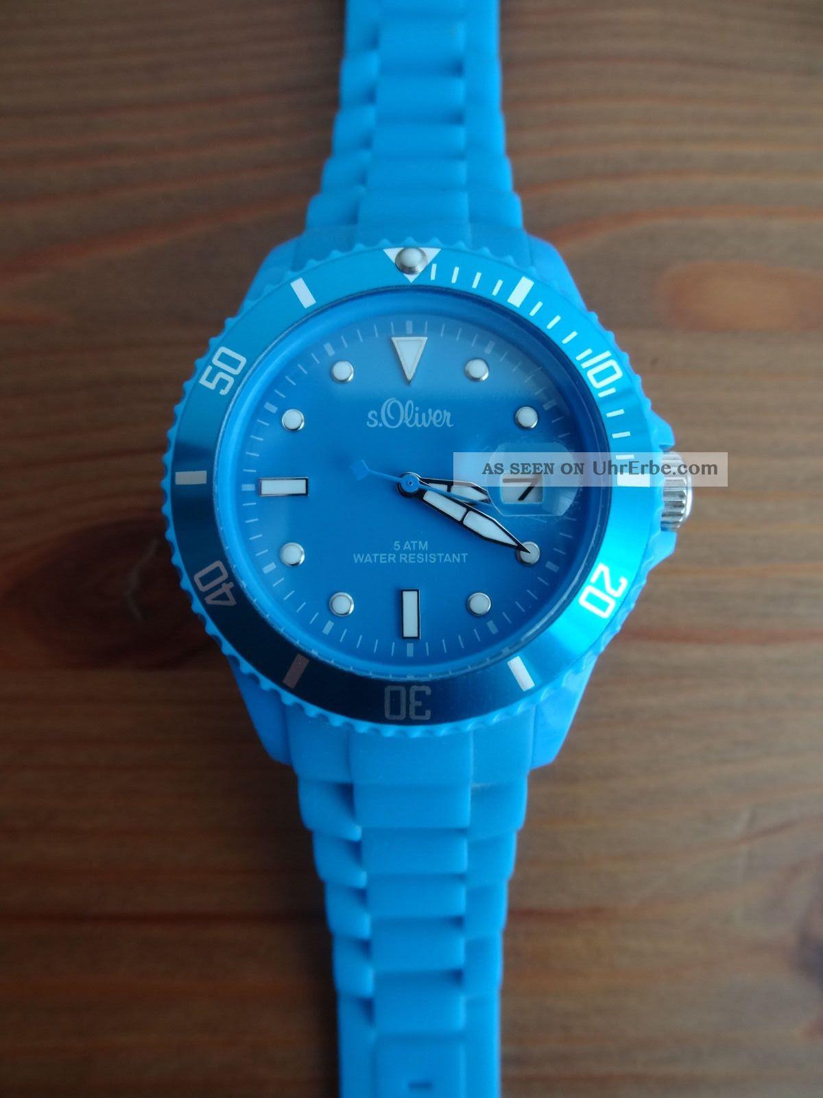 S.  Oliver Unisex - Armbanduhr Silikon Blau Analog Quarz So - 1993 - Pq,  Wie Armbanduhren Bild