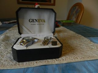Geneva Quartz Damen Und Herren Armband Uhr / Paar Armbanduhr Bild