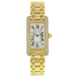 Quartz Armbanduhr Damen Cartier Tank Americaine Wb7043jq Diamant 18k Gelbgold Bild