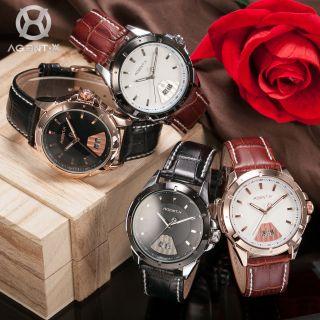 V Agentx Herrenuhr Quartzuhr Analog Fashion Lederband Armbanduhr 4 Farben Bild