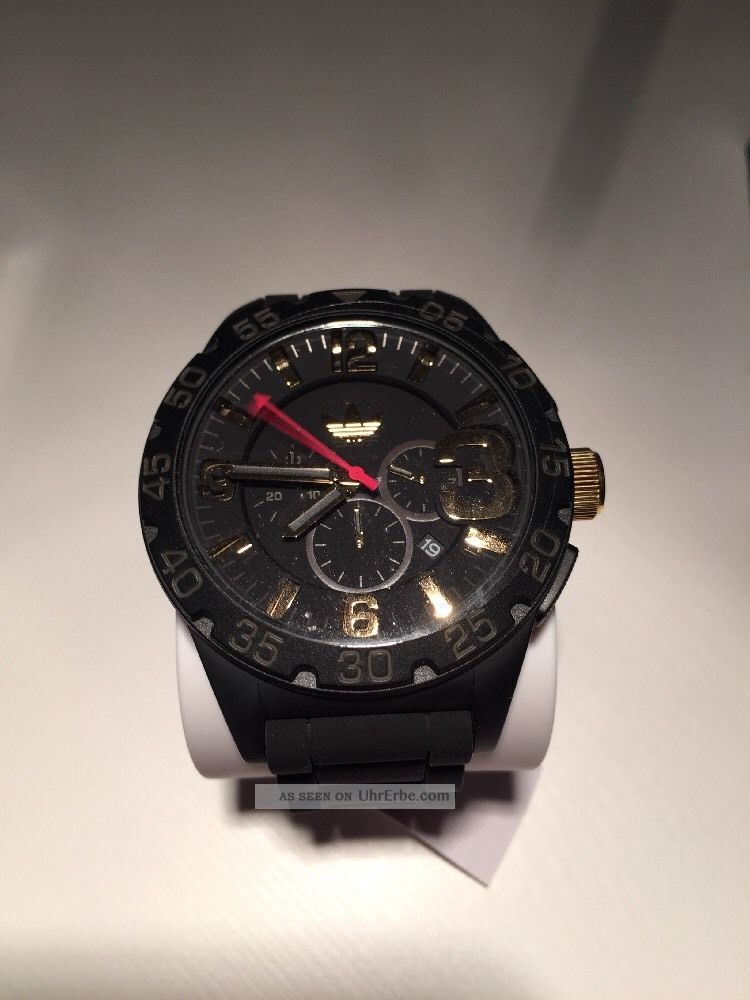 Adidas Herren Armbanduhr Xl Newburgh Schwarz Und Gold Armbanduhren Bild