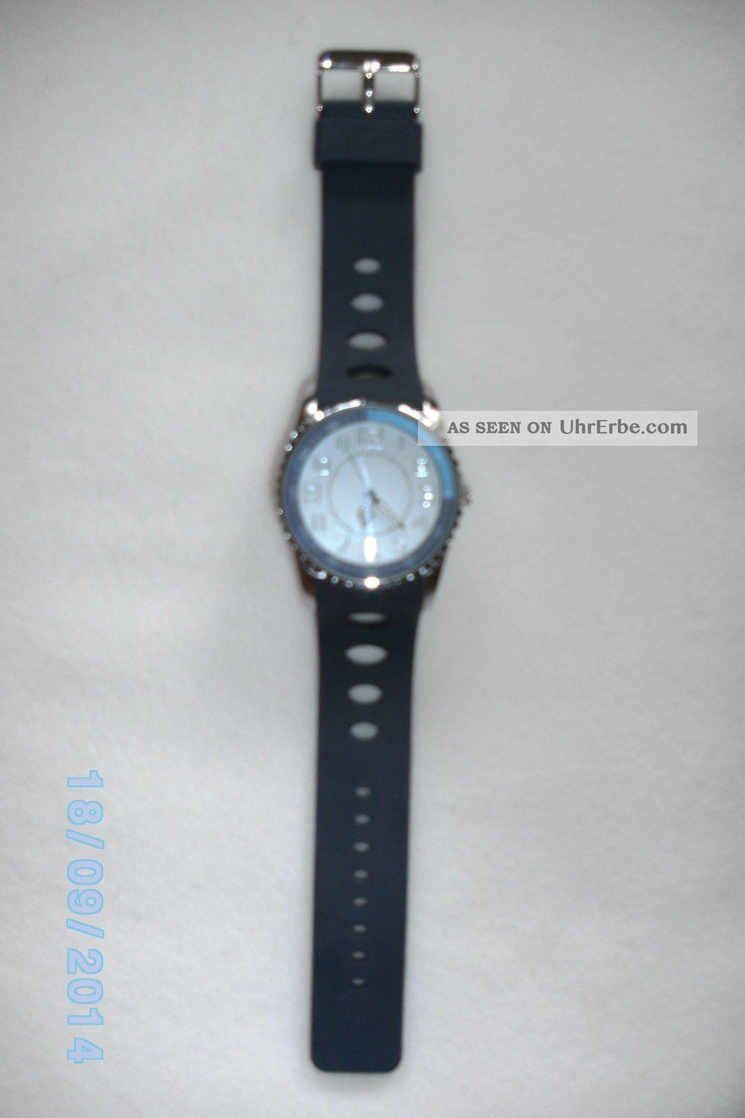 Herren Armbanduhr Uhr Herrenuhr Blau Siliconband 1/4 Ring Ist Hellblau Look Armbanduhren Bild