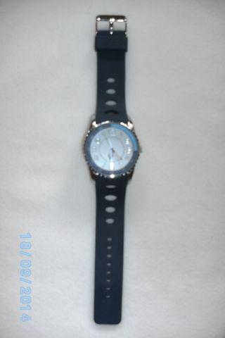Herren Armbanduhr Uhr Herrenuhr Blau Siliconband 1/4 Ring Ist Hellblau Look Bild
