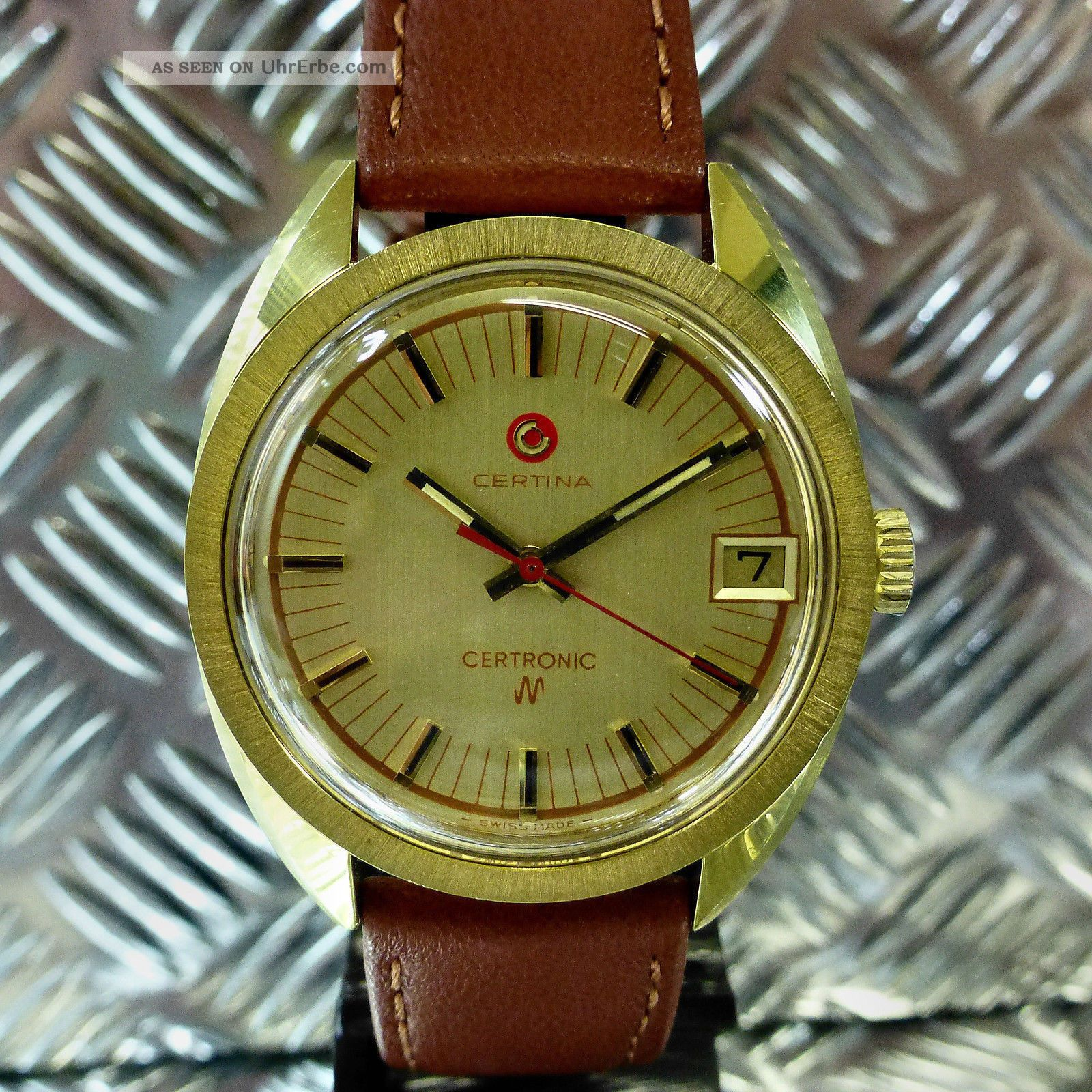 LÄssig Alte 70èr Jahre Certina Stimmgabel 20 Mic Vergoldet Armbanduhr Herrenuhr Armbanduhren Bild
