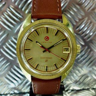 LÄssig Alte 70èr Jahre Certina Stimmgabel 20 Mic Vergoldet Armbanduhr Herrenuhr Bild