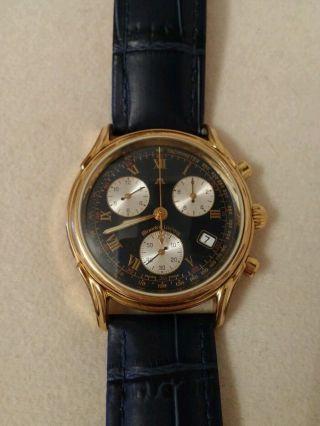 Maurice Lacroix Uhr,  Vergoldet,  Dunkelblaues Ziffernblatt,  Armband Bild