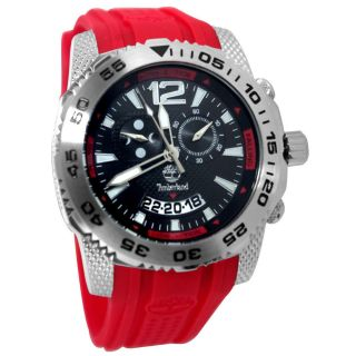 Armbanduhr Timberland Tbl - 13319js - 02b Schwarzes Zifferblatt Rot Silikon Bügel Bild
