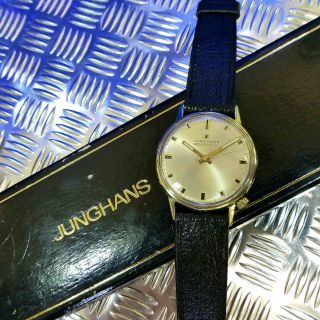 Vintage Junghans Massiv 585 Gold Electronic Bj 71 Familie Ato Chron Herrenuhr Bild
