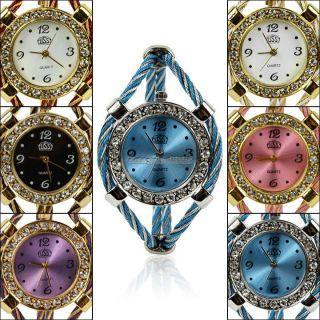 Armbanduhr Damen Quartz Strick Uhr Armreif Armband Bracelet Wrist Watch 6 Farben Bild