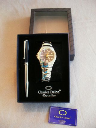 Herren - Armbanduhr Charles Delon Executive,  - Mit Kugelschreiber Bild