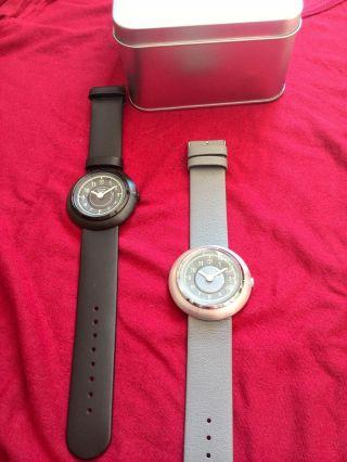 Detomaso 2 Armbanduhren Schwarz Und Grau Lederarmband Bild