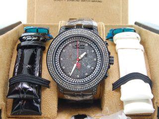 Herren Joe Rodeo Pilot/schwarzen Finish 3 Reihe Diamant Uhr - Jojino Jojo 3,  15 Ct Bild
