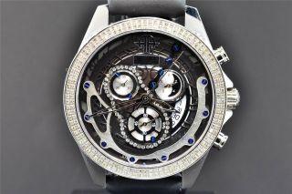 Herrenuhr Arctica Diamanten Blau & Schwarz 2 - Reihige Lünette 1.  5 Ct Datum Chrono Bild