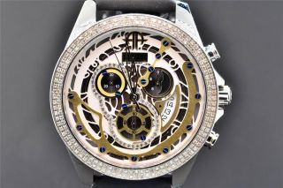 Uhr Herren Artica Diamant Gold & Weißes Ziffernblatt 2 Lünetten 1.  5k Bild