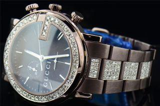 Benutzerdefinierte Diamant Gucci Ya101341 - Braun Pvd Metal Band Chrono Uhr 6,  50ct Bild