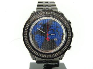 Herren Joe Rodeo/jojino/jojo Schwarz Platin Diamant Uhr Blauen Weltkarte 1,  75ct Bild
