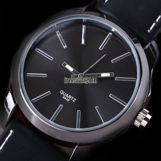 Lässige Herren Classic Edelstahl Zifferblatt Lederband Analog - Quarz - Armbanduhr Bild