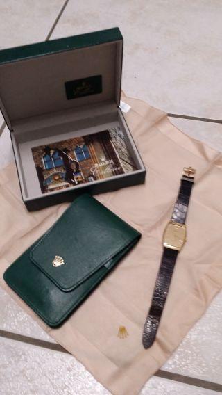 Rolex Cellini Handaufzug Unisexuhr Damen Herren Ref 4136 Lederarmband Gold Bild