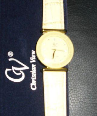 Damen Armbanduhr Beige - Lederarmband Von Christian View Neu/ovp Bild